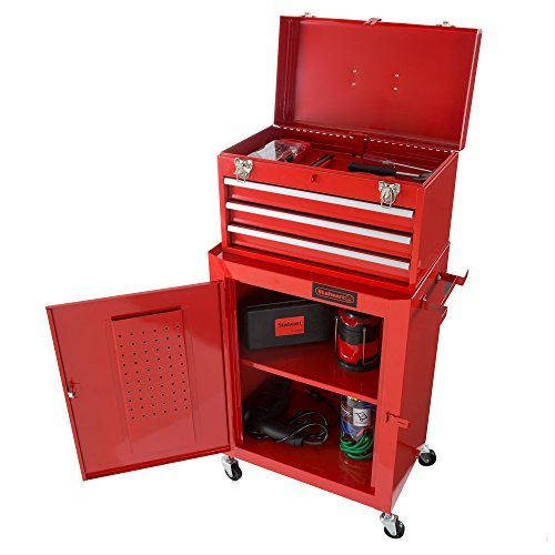 Rolling Tool Box Cabinet, 3 Drawer Portable Storage Chest Tools and Garage Organizer With Wheels and Sliding Drawers By Stalwart (Red) DURABLE CONSTRUCTION- Stalwart products are built from high-quality and durable materials that are built to last. The Stalwart Rolling Tool Box is constructed using a red gloss powder coated finish that resists rust and scratches, so your tool chest will last for years to come. EFFICIENT TOOL STORAGE- The large cabinet space in the rolling to