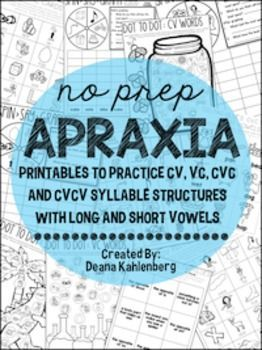 This packet was created to practice syllable structures and vowel sounds, specifically for kiddos with childhood apraxia of speech.  All pages are black/white for easy printing and require little to no prep. Activities are included for VC, CV, CVC and CVCV syllable structures.