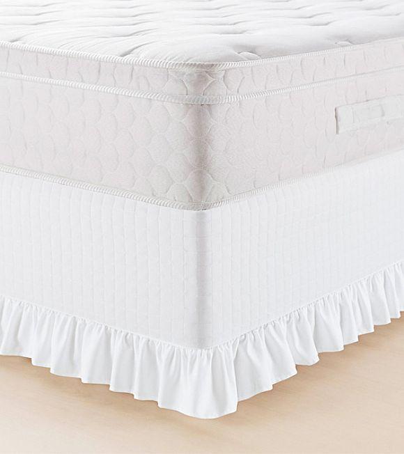 Saia Protetora Para Cama Box Solteiro Lavive - Probox com Babado Branco