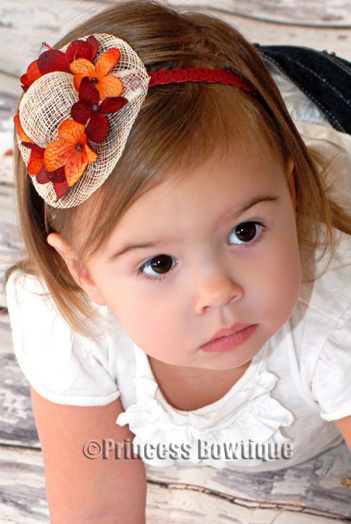 Fall Mini Hat Autum Flowers Little Girl Headband - Princess Bowtique