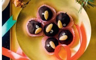 Chocolate, almond and marzipan prunes