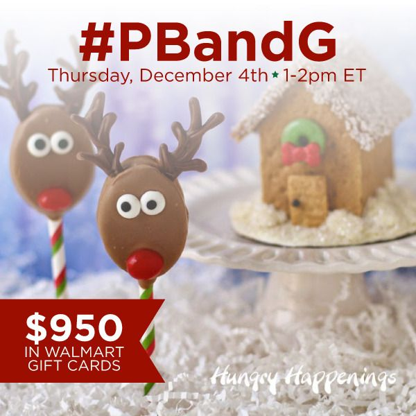 Looking for a way to make your holidays extra sweet?  Grab your Skippy Peanut Butter and Honey Maid Graham Crackers and join us for the #PBandG Twitter Party on Thursday, December 4th from 1-2pm ET!  $950 in prizes!