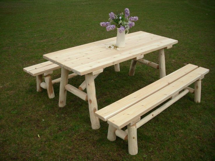 6u0027 Rustic White Cedar Log Traditional Picnic Table With Detached Benches.  Great Rustic Outdoor