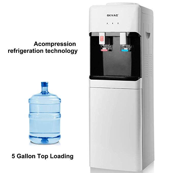Okvac Water Cooler Dispenser Top Loading 5 Gallon Freestanding Water Dispenser With Storage Cabinet 2 Temperature Setti Water Coolers Water Dispenser Dispenser
