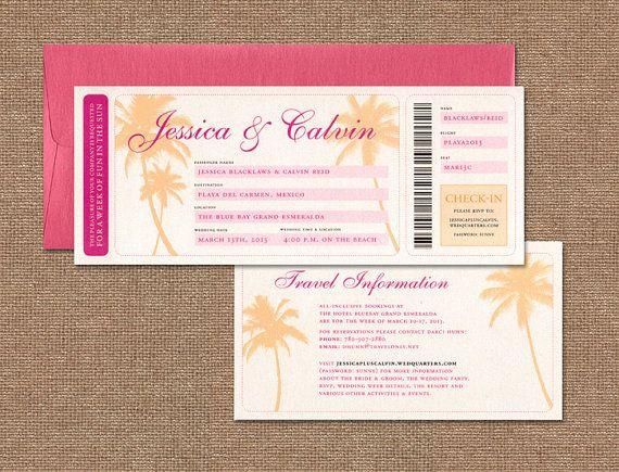 """Destination, Beach Wedding Invitation, Pink, Orange Wedding Invitation, Boarding Pass Wedding Invitation - """"Julie"""" SAMPLE"""