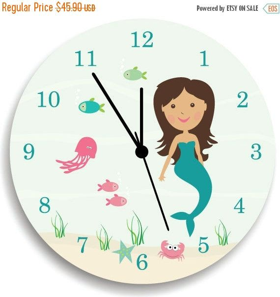 Kids Wall Clock, Children Room Decor Mermaid WALL CLOCK for Girls Bedroom    Nursery Wall Clock, A perfect added touch to your child's room or beautiful addition to the play room.  Cute, fun and colorful designed Wall Clock for your kids room or a unique gift for any lucky! A very uniquely gift at an affordable price. This colorful Wall Clock made from my original art works designed to coordinate with the very popular Ocean Sea Life Growth Chart.    Measurements approximately 10.62 Diameter…