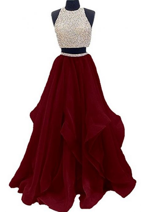 Prom Dresses,Prom Dresses ,Two Piece Floor Length Organza Prom Dress Beaded Evening Gown