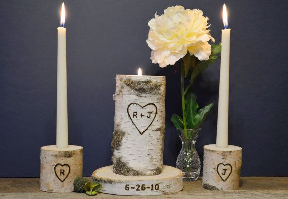 Personalized Unity Candle Set with Bride and Groom Initials and Wedding Date by TheCreativeQ. Birch Wood Unity Candle Holder Set. Rustic Wedding, Beach Wedding, Country Wedding, Barn Wedding. Unique Wedding Candle.