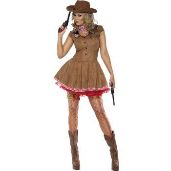 Sexy cowboy kostuum voor dames. Bruin cowgirl jurkje met geblokt sjaaltje. Exclusief jarretel en panty. Carnavalskleding 2015 #carnaval