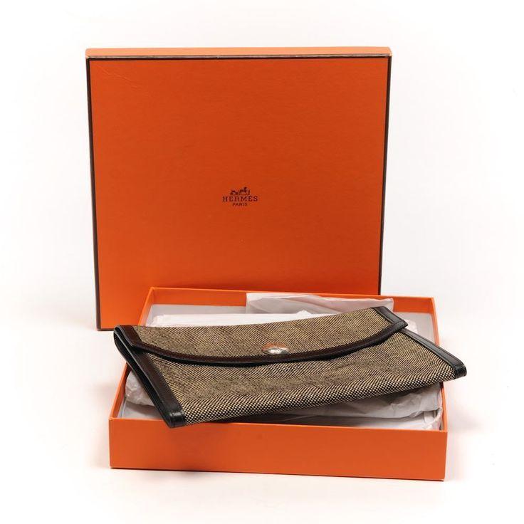 HERMES Bag Rio Toile Black \u0026amp; Ivory Envelope Clutch Silver Touareg ...
