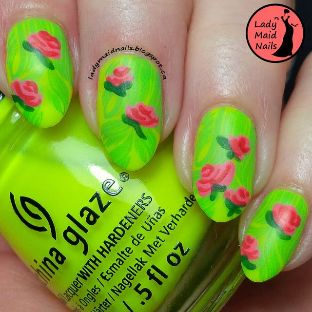 25 trending neon green nails ideas on pinterest neon nails neon green nails with cute roses prinsesfo Images