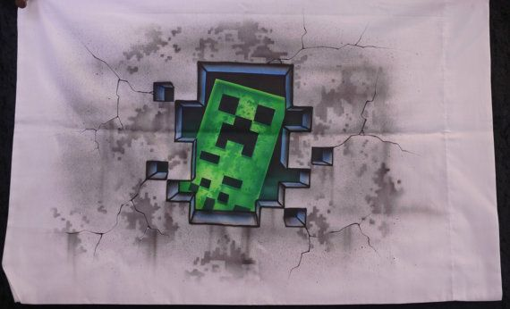 2 federe Minecraft Creeper aerografo Gamer regalo presente Personalize compleanno Bomboniere Creep mentre voi sonno * nome incluso su ogni