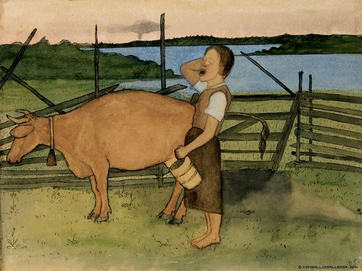 Hugo Simberg (1873-1917) Aamulypsy / Morning milking 1895 - Finland - Finnish cow