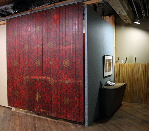 Recycled wooden flooring used as wall panel