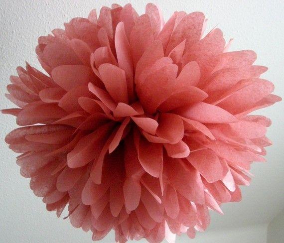 Rose Wine ... 1 tissue paper pom // wedding // by PomLove on Etsy, $4.50