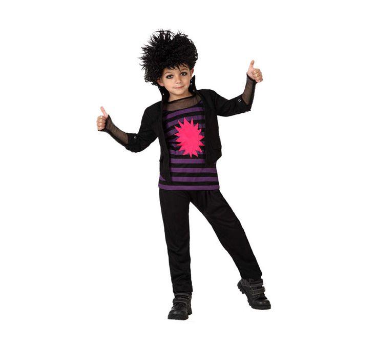 Disfraz de Punky para Niño de 3 a 4 años. Se compone de Camisa, Chaleco y Pantalón. Completa tu disfraz con artículos de nuestra sección de accesorios como pulseras, gargantillas, guantes, peluca, brazos tatuados...