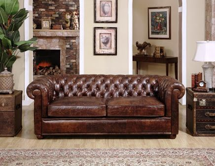 Vintage Design Living Room With Chesterfield Sofa