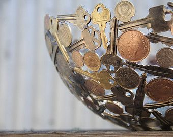 World coin bowl Large 28 cm metal bowl metal sculpture by Moerkey