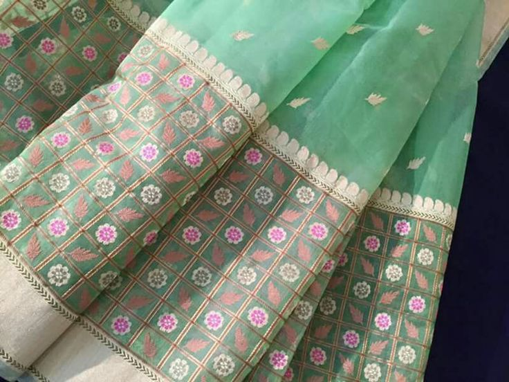 Kadhua meenadaar handcrafted organza saree from varanasi - Stuti creation