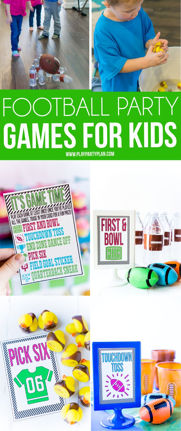DIY football party games for kids with free printable instruction cards! Definitely six of the best things to do at a football party whether it be Super Bowl or a kids football birthday party!  via @playpartyplan