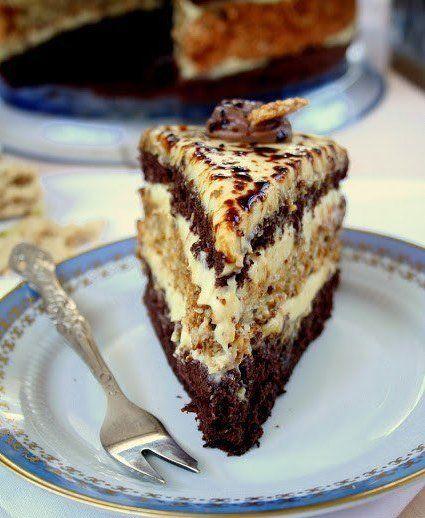 """ТОРТ """"ХАЛВА"""" Мой любимый тортик к чаю ☕ http://qps.ru/eNEh4  Какао бисквит: 5 яиц 3/4 стакана сахара 2/3 стакана муки (торт) 1/3 чашки какао  Смешать муку и какао, просеять. Белки отделить от желтков, взбить белки в жесткие пики. В конце взбивания добавить сахар , ложку за ложкой, взбивая после каждого добавления. Добавить яичные желтки по одному, взбивая до сих пор. Затем добавить муку и какао . Осторожно перемешать тесто, чтобы компоненты слились воедино. Форма диаметром 23 см выстелить…"""