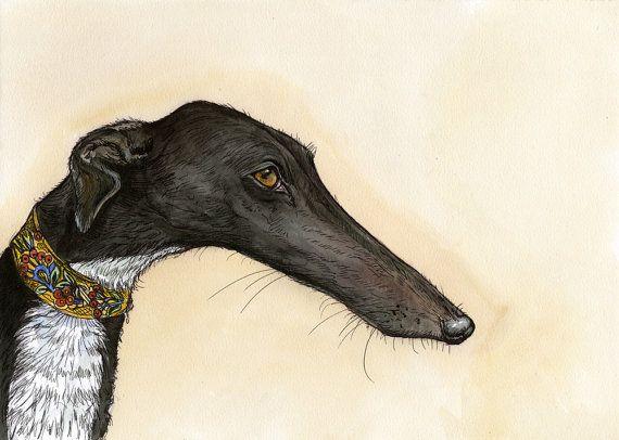 Ein wenig poetisch  Greyhound Kunst Dog Print von AlmostAnAngel66, £75.00