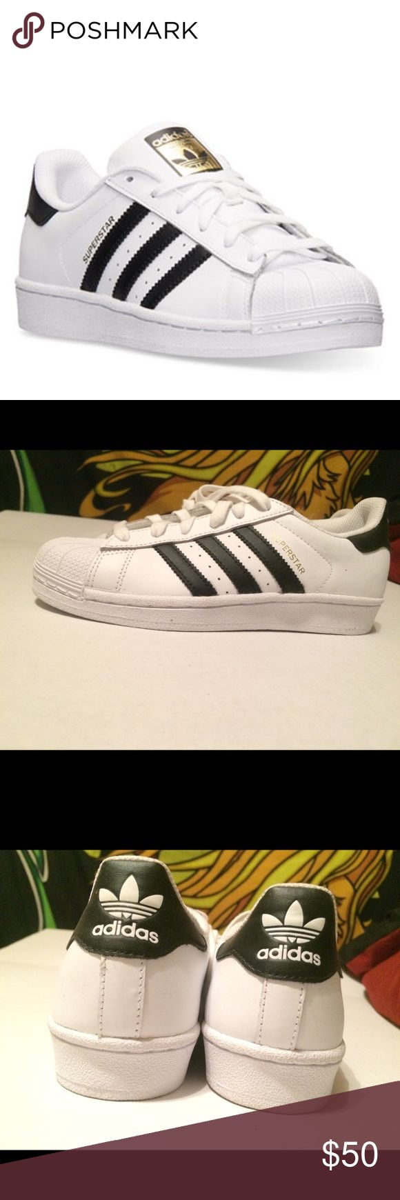 Adidas Superstar White Casual Sneakers/Women Brand new, gold adidas logo on top of shoes :) adidas Shoes Sneakers