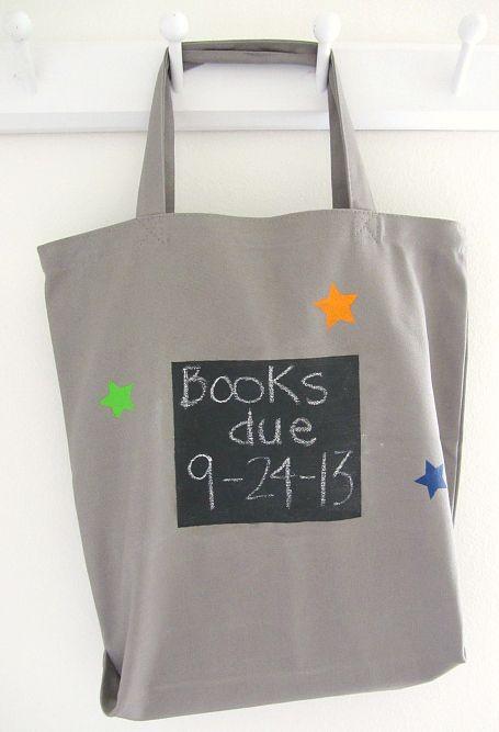 DIY Library Book Bag by notimeforflashcards #DIY #Kids #Book_Bag #Library #Chalkboard_Paint