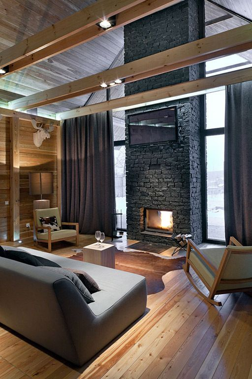 ♂ Contemporary masculine home design with brick wall fireplace and hard wood floor