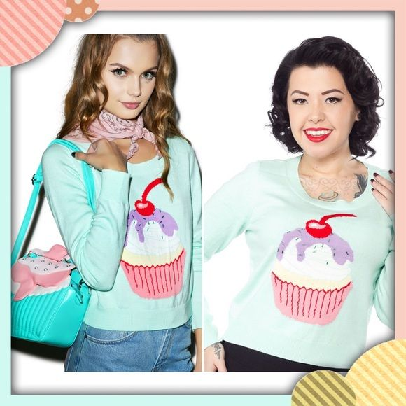 "Iron Fist Hello Cupcake Sweater Beautiful teal cotton mix sweater with an adorable cupcake graphic, covered in beaded sprinkles. You got this!  ❤️ New with tags! ❤️ Retail value $50 ♥ 55% Cotton / 45% Acrylic Fine Gauge  ❤️ Beaded Sprinkles  ❤️ 20"" Shoulder to Waistband   ❤️ 32"" Waistband   ❤️ 36"" Bust Iron Fist Sweaters Crew & Scoop Necks"