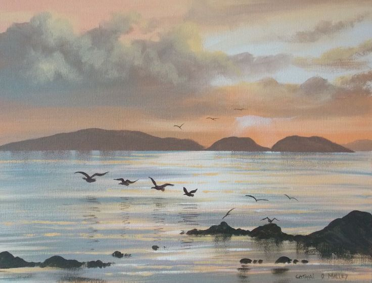 high island - Painting,  2x16x20 in ©2014 by Cathal O Malley -                                                              Realism, Canvas, Seascape, high island, ireland, galway