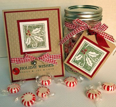 Happiest of Holidays, Square Lattice EF, Holiday Collection (sentiment), Red Gingham Ribbon, Mini Bell, Red Button