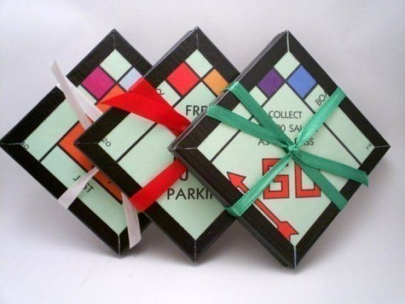 Board Game Coasters  Monopoly  Recycled by ChaosToArt on Etsy, $15.00