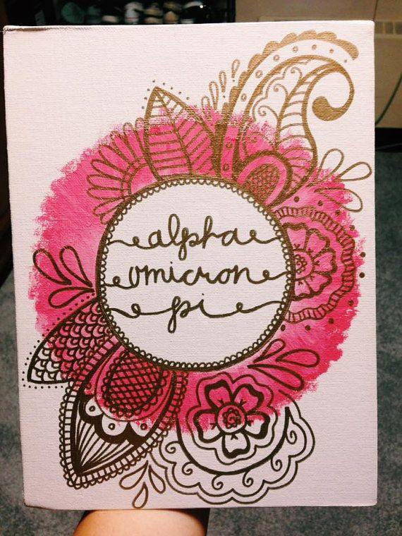 Sorority Canvas Painting with Doodling