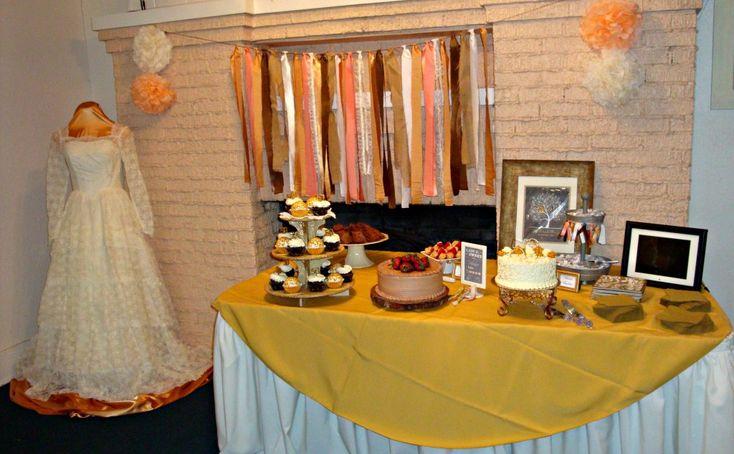 Th wedding anniversary dessert table photo booth ideas
