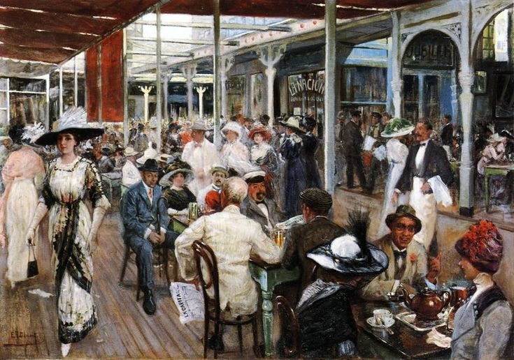 The Terrace Cafe, Mar del Plata, Argentina by Eugenio Alvarez Dumont - 1912