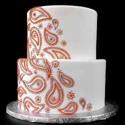No flowers, no ribbons, no hearts, no cake topper. This bride wanted bold, simple, and paisley.