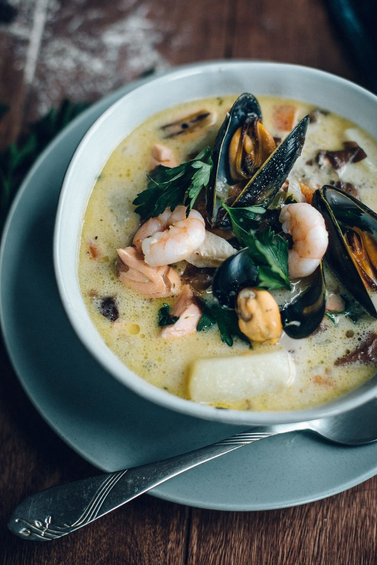 Dulce seafood chowder potatoes pancetta cod salmon for Fish soup cod