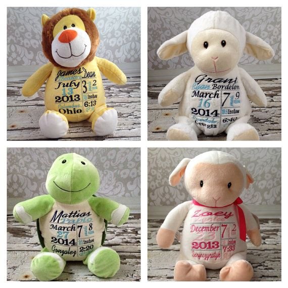 Personalized Stuffed Animal Birth Announcement by KuggaKIDS