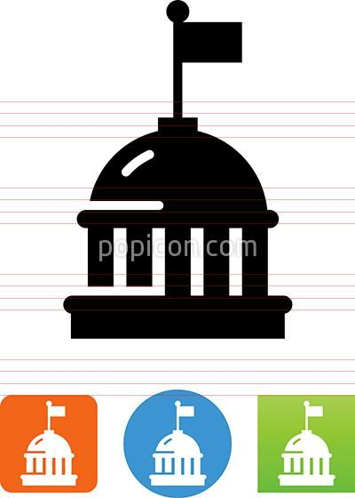 Capital Dome Building With Flag Icon Dome Building Flag Icon Building Icon