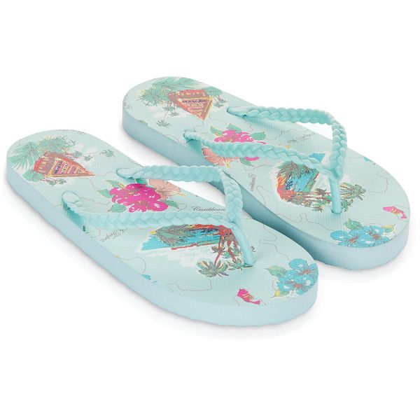 Accessorize Tropical Map Eva Flip Flops (£11) ❤ liked on Polyvore featuring shoes, sandals, flip flops, braided sandals, strappy sandals, woven shoes, hawaiian print shoes and strappy flip flops