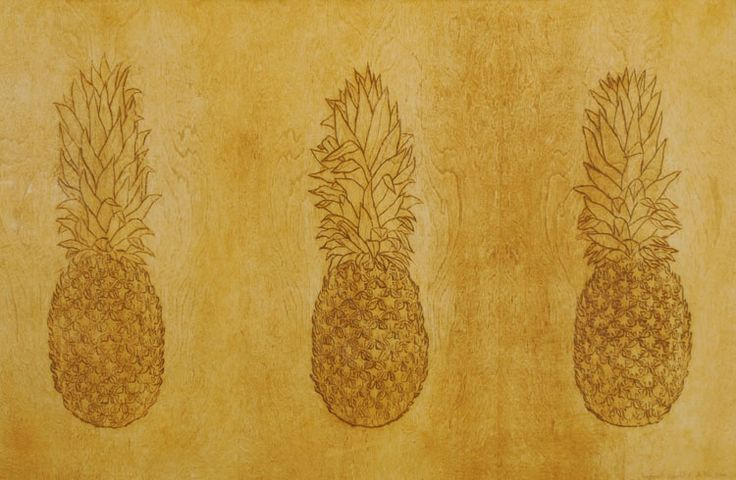 Pineapples in Triplicate - Woodcut Print by David Hefner
