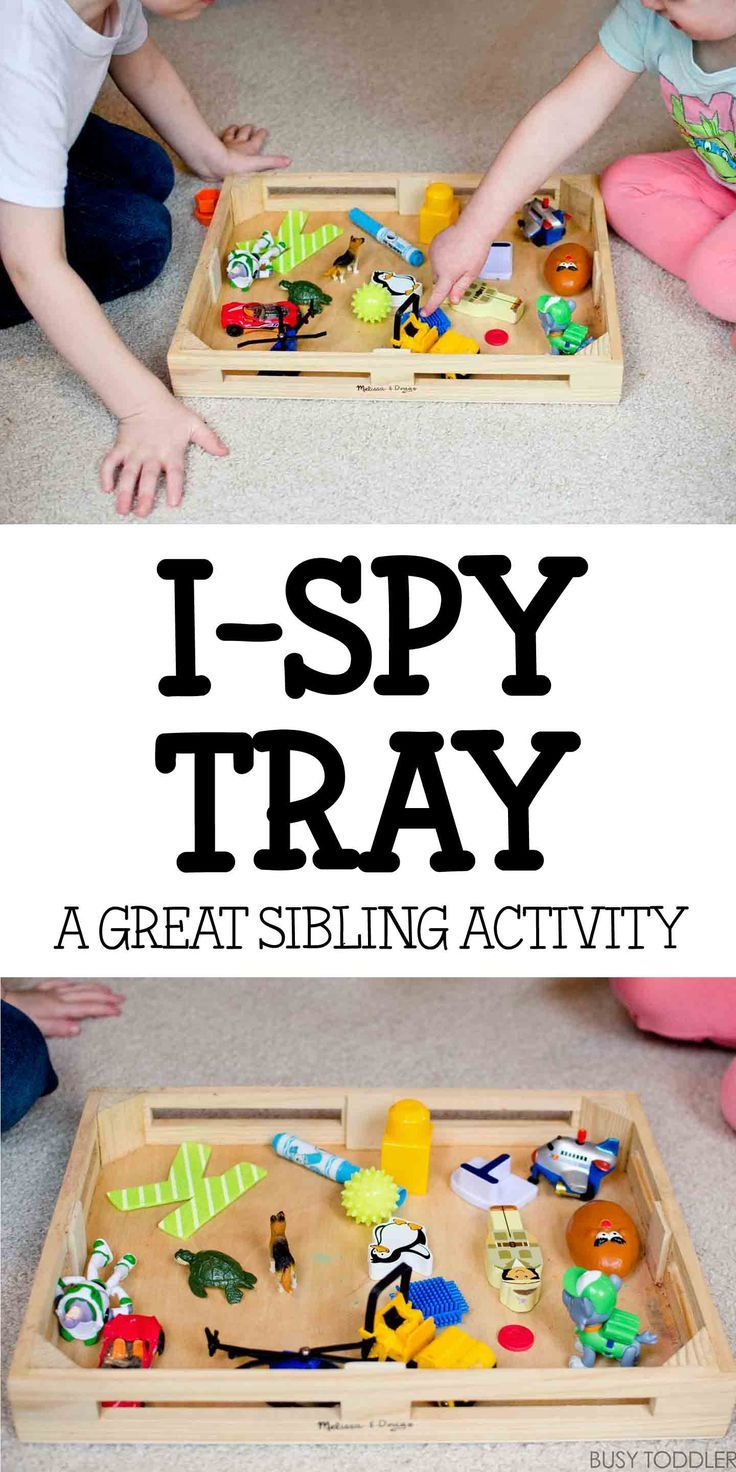 I-Spy Tray Activity - a great indoor activity! Check out this easy activity for toddlers that's great for siblings to play together.