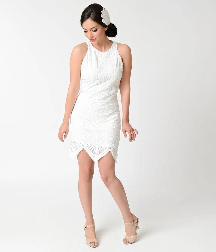 Unique Vintage Vintage Style White Embroidered Mesh Sleeveless Flapper Dress