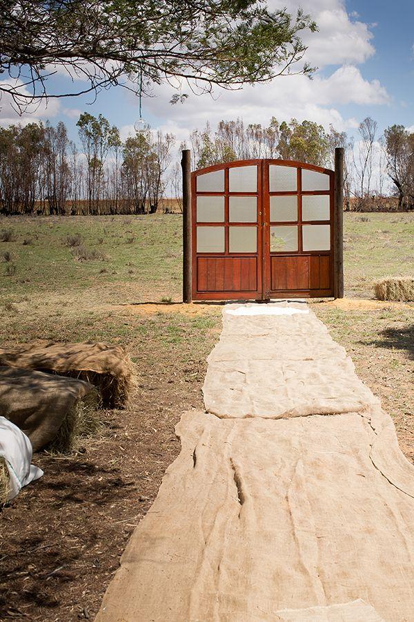 outdoor farm wedding with hay bale seating #farmwedding #weddingceremony #weddingchicks http://www.weddingchicks.com/2014/02/27/south-africa-farm-wedding/
