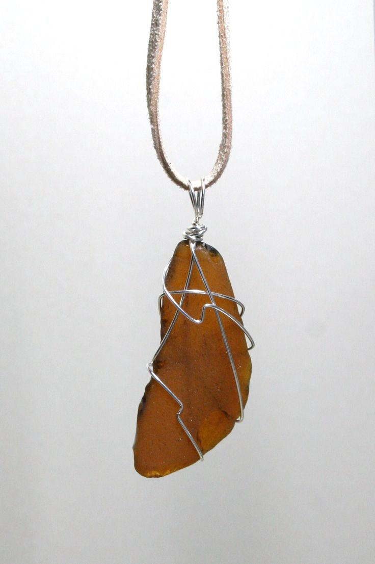 Brown Sea glass wired necklace from Coral Beach, Connemara, Ireland www.facebook.com/Supposejewellery