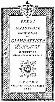 Giambattista Bodoni, Manuale tipografico, 1778
