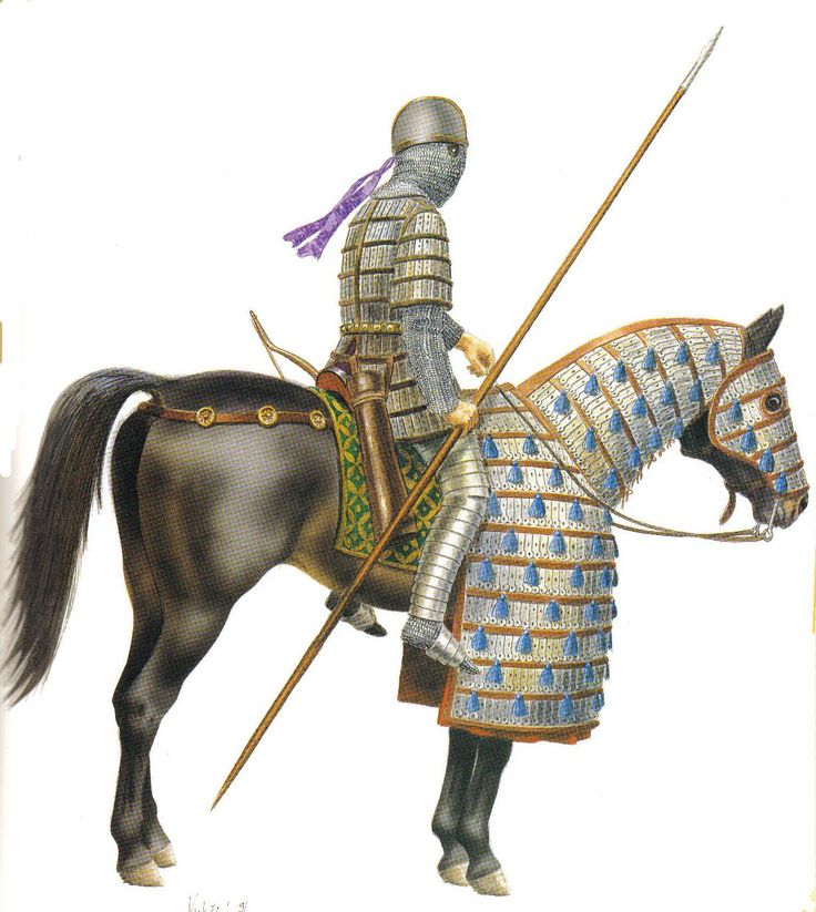 Cataphract was the precursor to the medieval knight. Used by Byzantian empire against eastern armies.