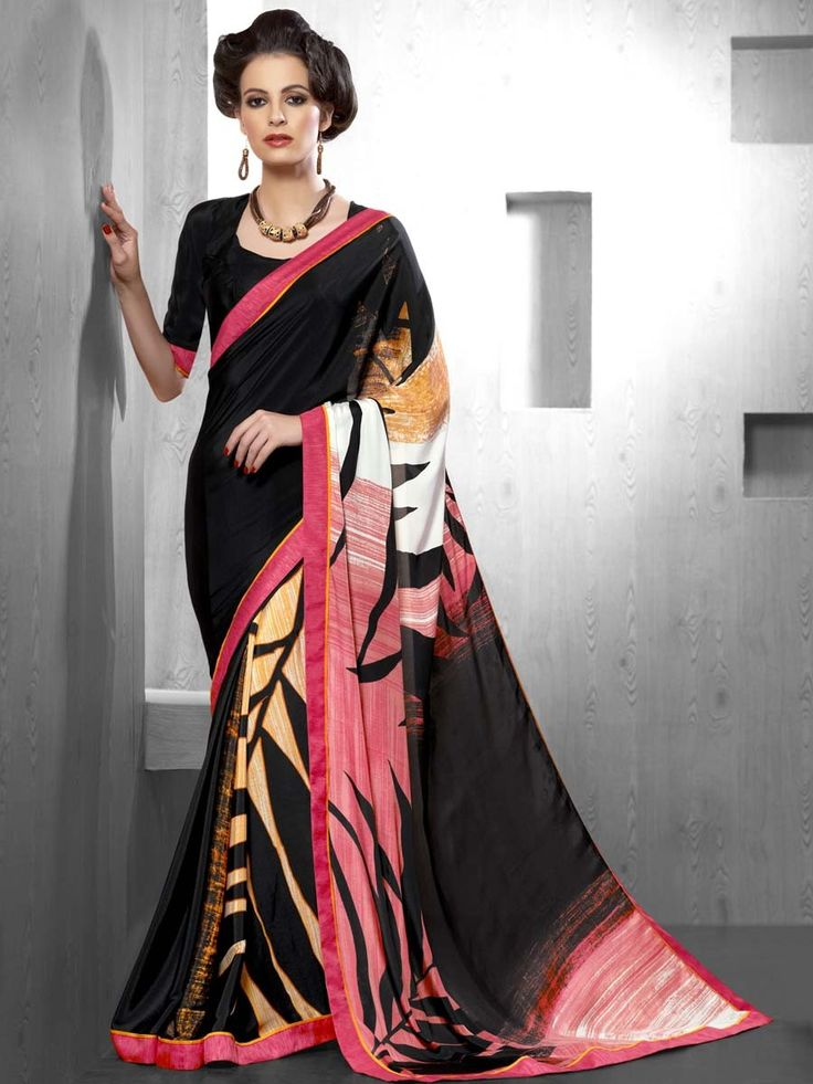 Exotic black color satin #Saree with abstract print and fancy patch border is looking awesome. Item Code: SDHI1852 http://www.bharatplaza.com/new-arrivals/sarees.html