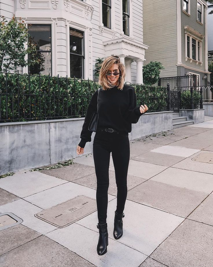 all black outfits with a black sweater, jeans and combat boots. Visit Daily Dres…